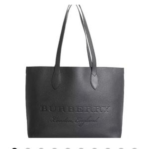 Burberry embossed leather tote .